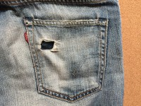 右バックポケットを簡単リペア仕上げ前